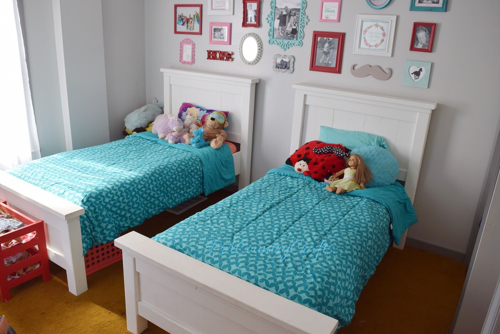Aqua red and pink girls shared bedroom love the white