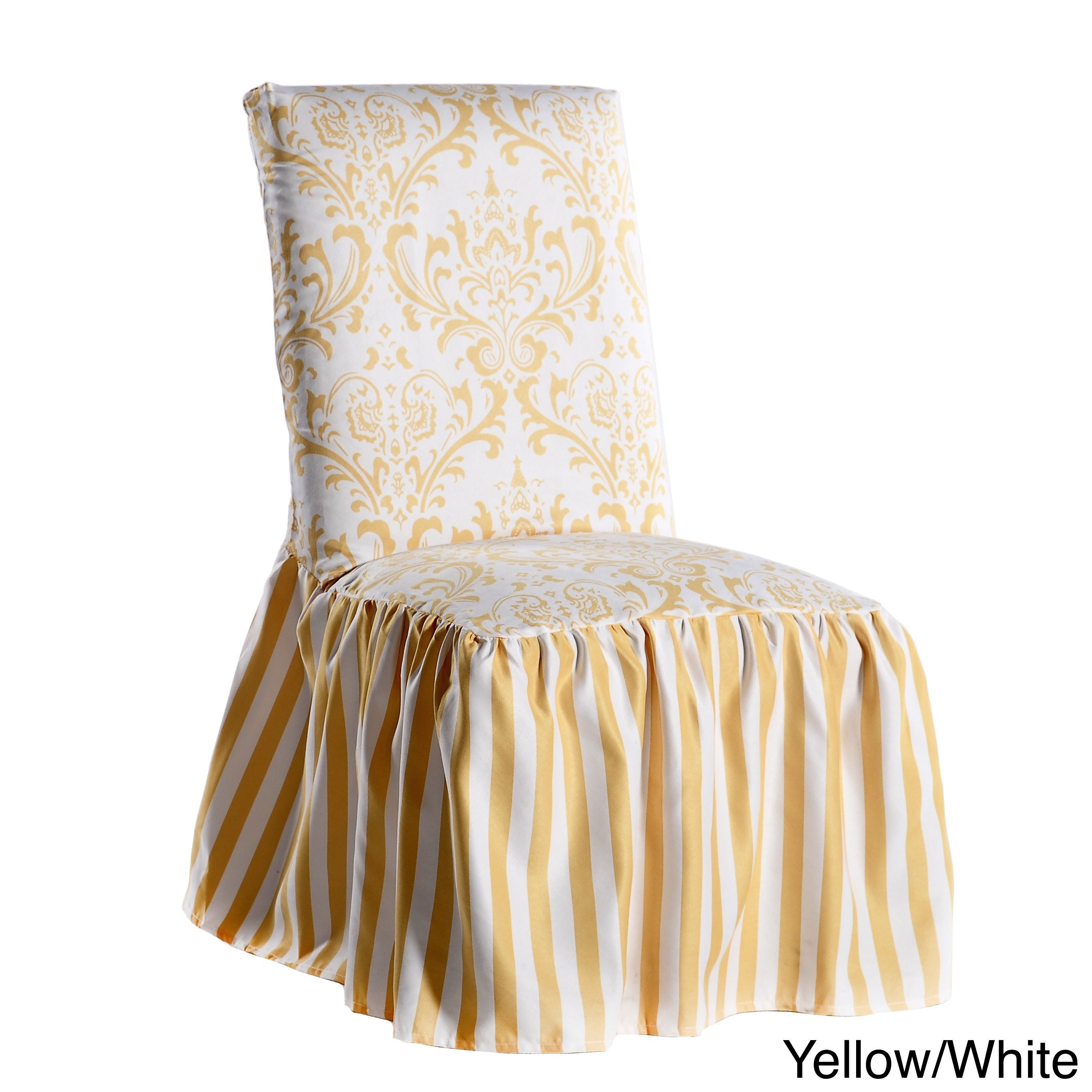 Classic Slipcovers Damask and Stripe Dining Chair Cover (Set of 2) (Yellow/White) (Floral)