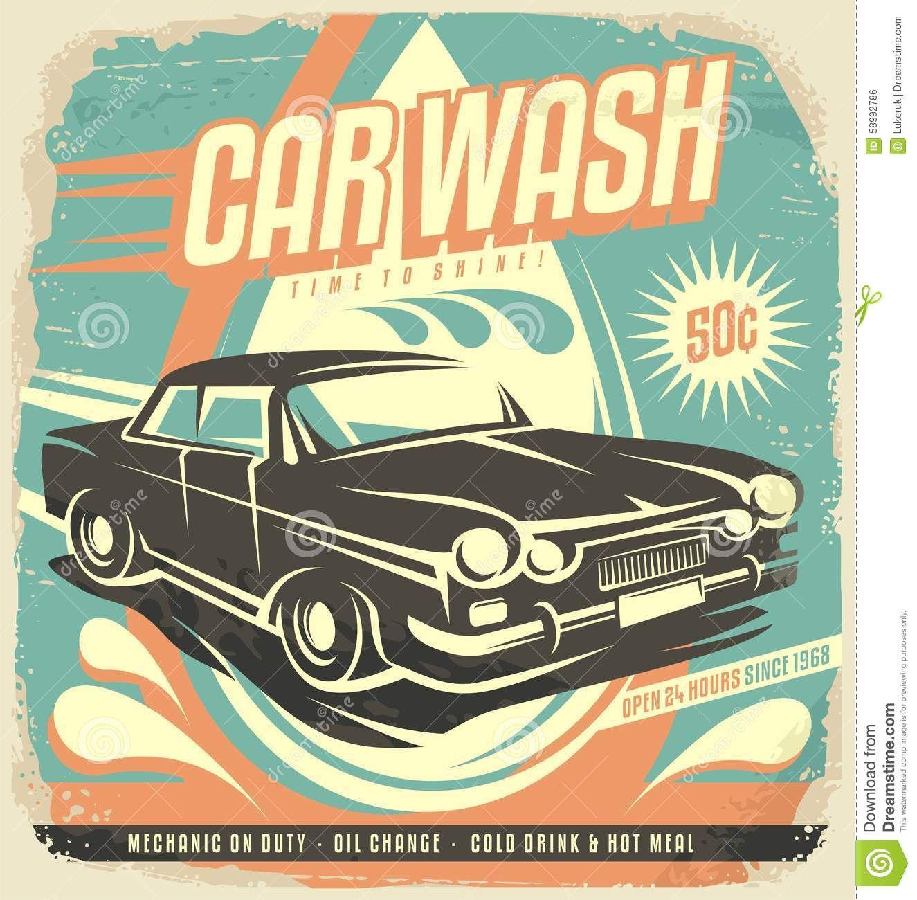 Poster design vector download - Retro Car Wash Poster Design Vintage Classic Illustration