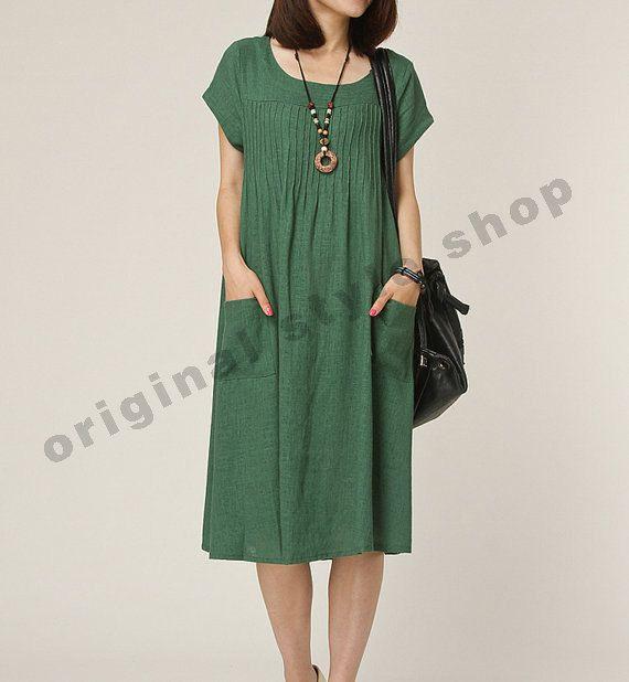 Green Linen dress maxi dress short sleeve by originalstyleshop