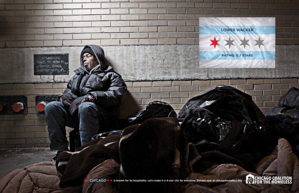 Chicago Collation For The Homeless Print Advert By Marc 4 Star City Lower Wacker Ads Of The World Star City Homeless Chicago