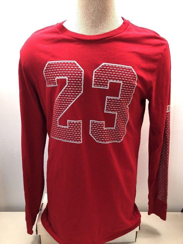 4632781124858e Air Jordan 23 Men s Shirt Long Sleeve Red Jumpman Size Large L EUC Free  Ship