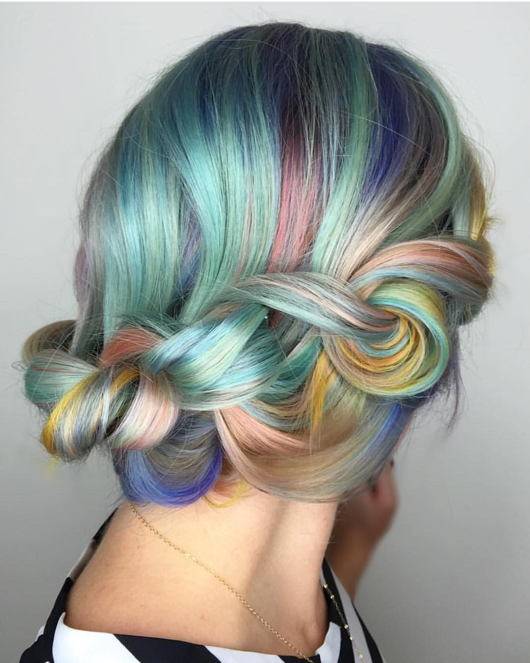 Knotted pastel rainbow braid by shelleygregoryhair pravana
