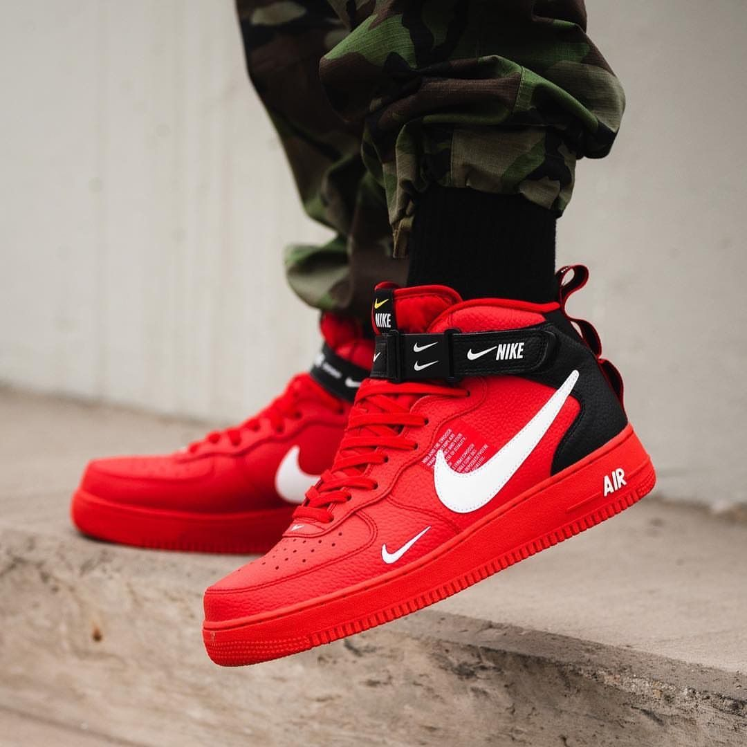 Insidesneakers Nike Air Force 1 Mid 07 Lv8 Red Black 804609 605 Shoes Sneakers Nike Mens Nike Shoes Nike Air Shoes