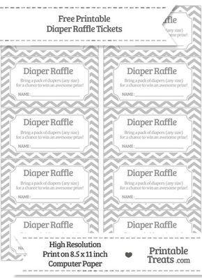 Free Silver Chevron Diaper Raffle Tickets Baby Shower