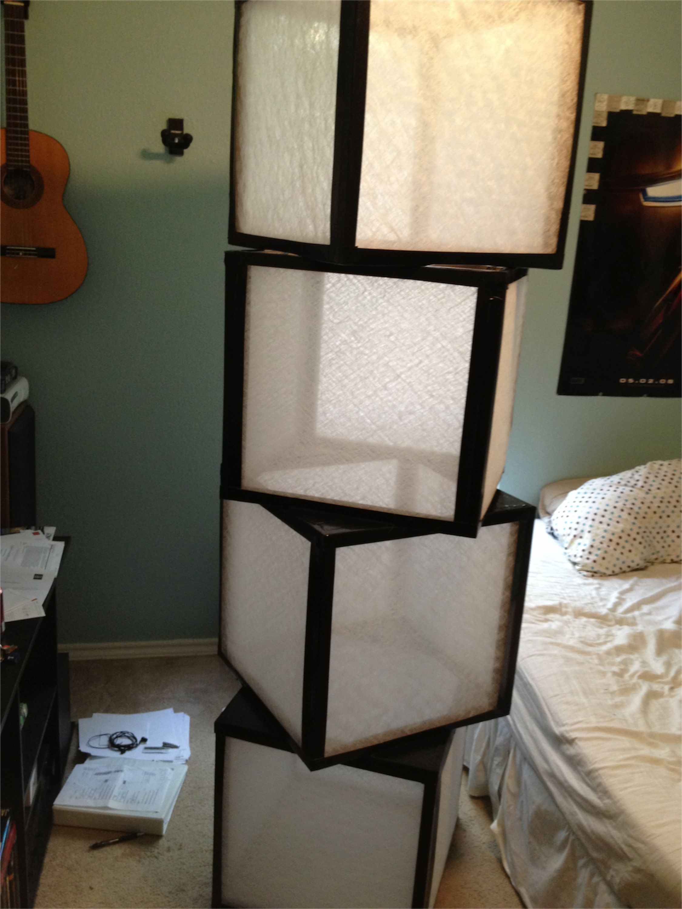 How To Build A Floor Lamp Floor Or Table Lamp Diy With Furnace Filters And Duct Tape