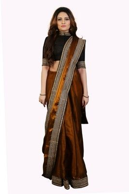 Golden Tissue embroidered border Party wear saree with ...