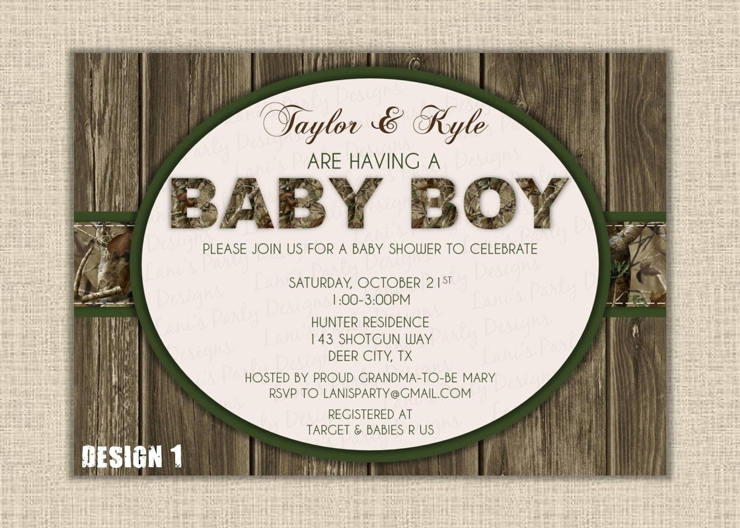 Beautiful Orange Or Green BOY Wood U0026 Hunting Camo Baby Shower Invitation     Digital  DIY Printable