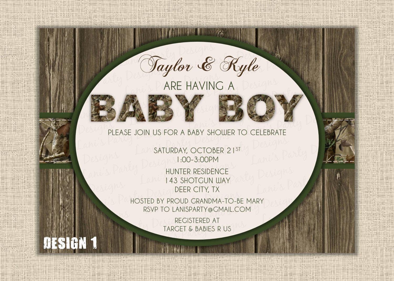 Orange Or Green Boy Wood Hunting Camo Baby Shower