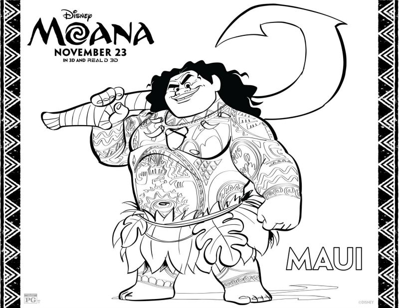 Moana Maui Coloring Pages