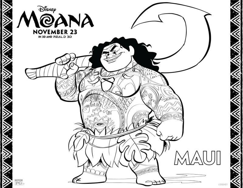 Maui Vaiana Moana Printables Free Coloring Sheets Disney Pages