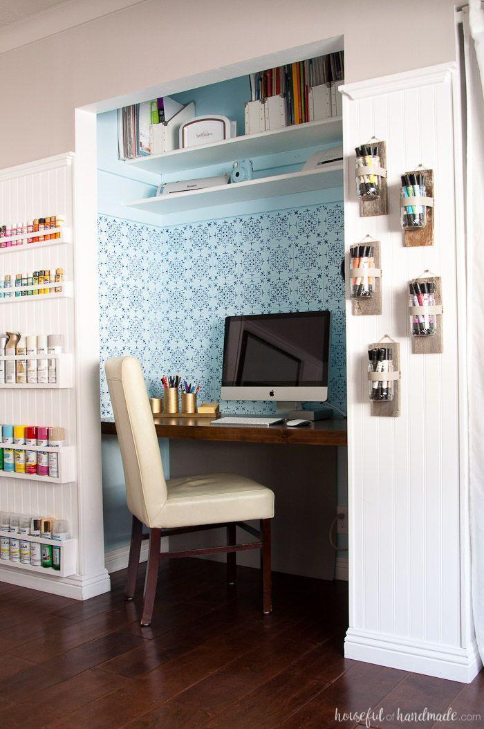 Office  Craft Room Reveal - $100 Room Challenge Pinterest