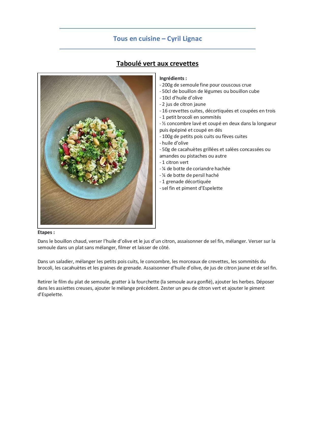 Plat   Taboulé vert aux crevettes   Recettes de cuisine, Recette ...