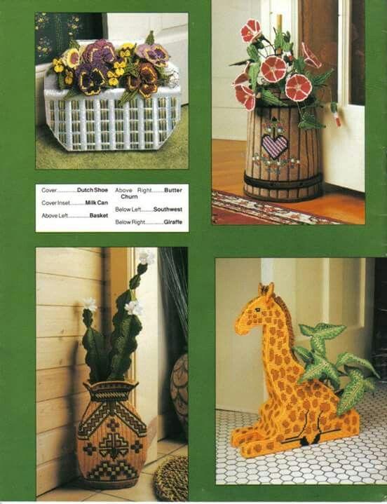 Butter Churn Southwest and Giraffe Leaflet Milk Can Annies Attic Plastic Canvas Doorstops Dutch Shoe Basket
