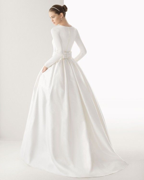 Simple White Wedding Dress With Sleeves