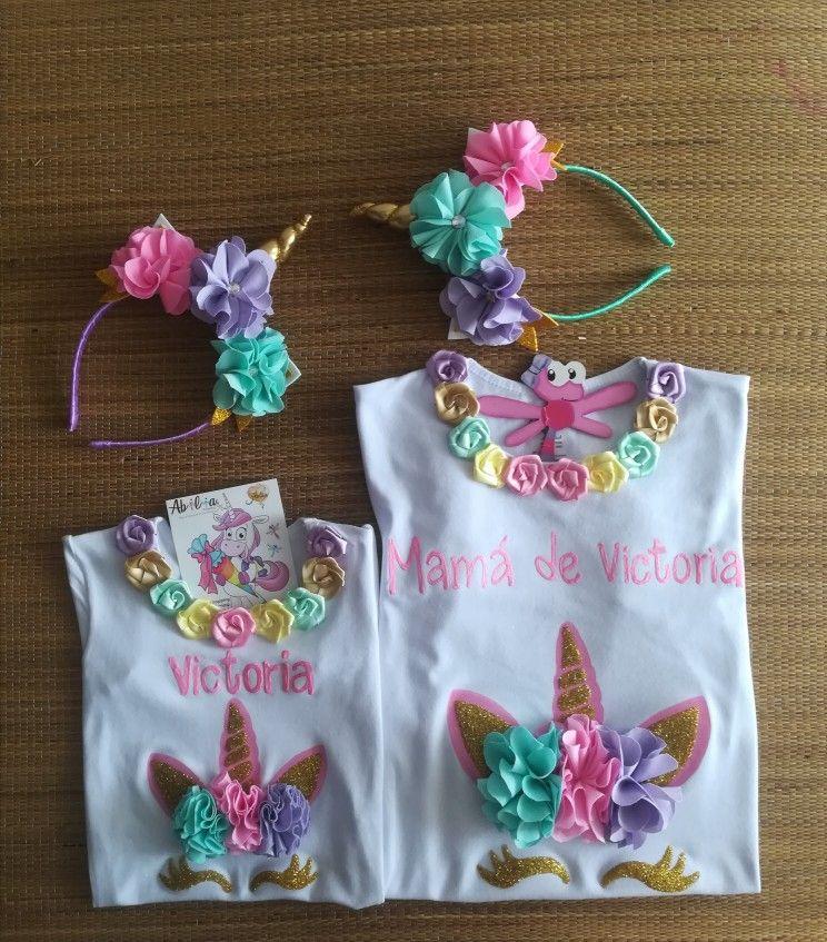 amplia gama Moda elegante y elegante Blusas y camisetas para mujer Mamá e hija Unicornio Abilia ...