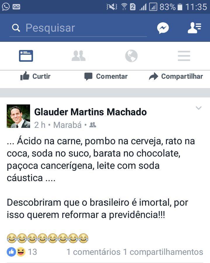 Brasil Reforma Da Previdência 2017 Frase ácido Na Carne Pombo Na