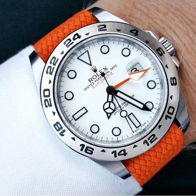 842fd876ac3 A very clear shot of  loevhagen s Rolex Explorer II on a orange perlon  strap
