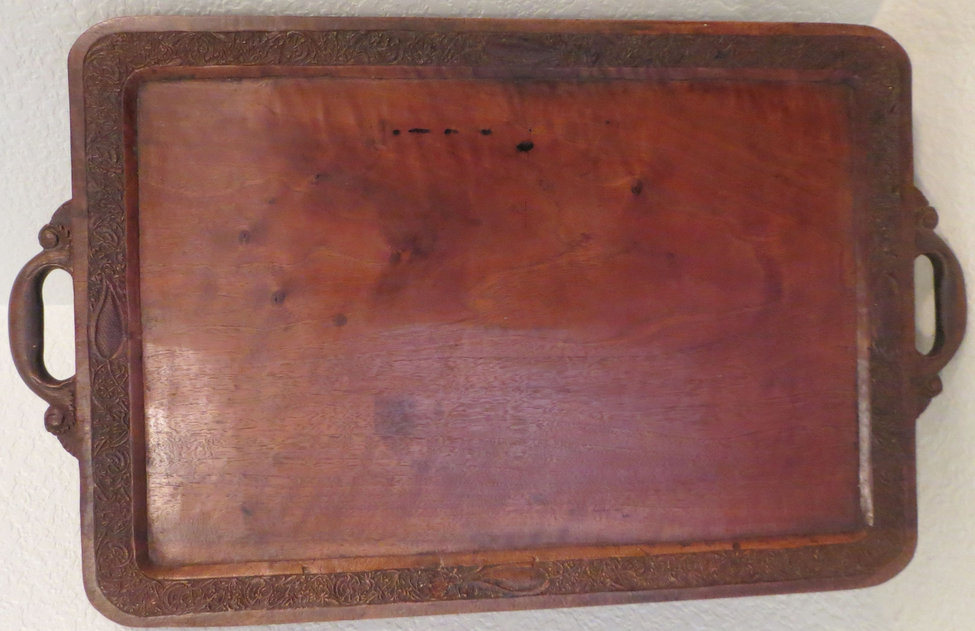 Hand carved walnut tray from the mid 1800's.  Sold for $35