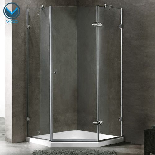 Verona 36 13 X 76 75 H Frameless Neo Angle Hinged Shower Enclosure With Base Included Neo Angle Shower Enclosures Neo Angle Shower Neo Angle Shower Doors