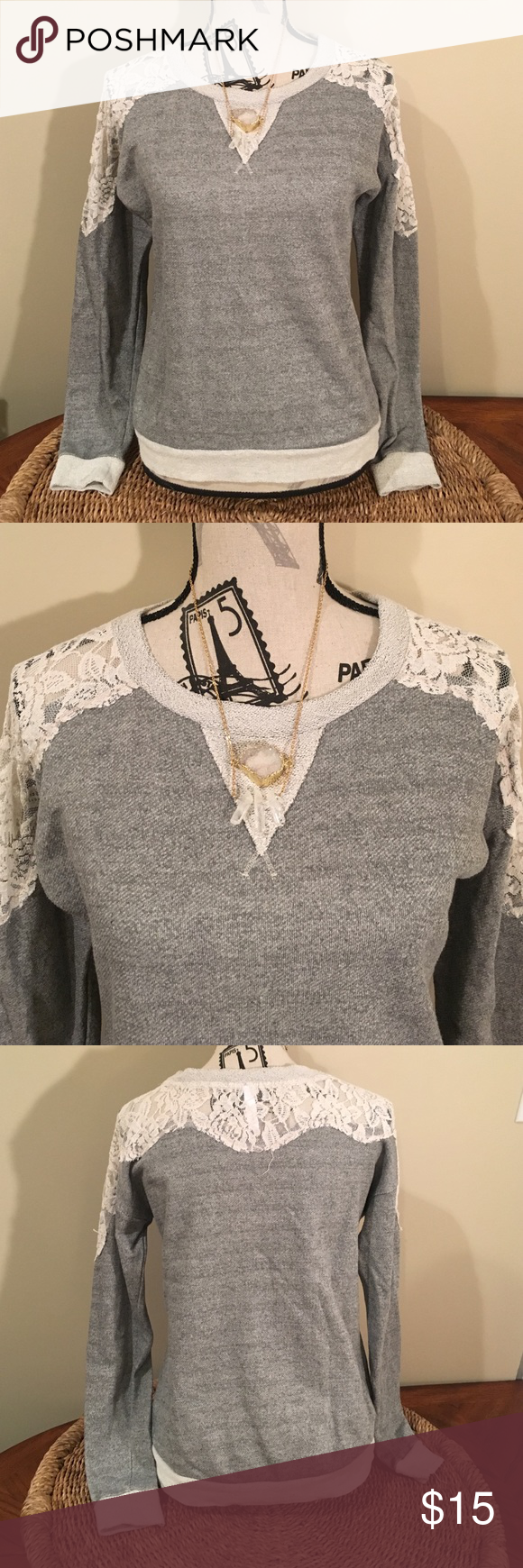 💖SALE💖 Sweatshirt with lace Gray sweatshirt with lace on top. Adorable sweatshirt worn a couple times. Xhilaration Sweaters Crew & Scoop Necks