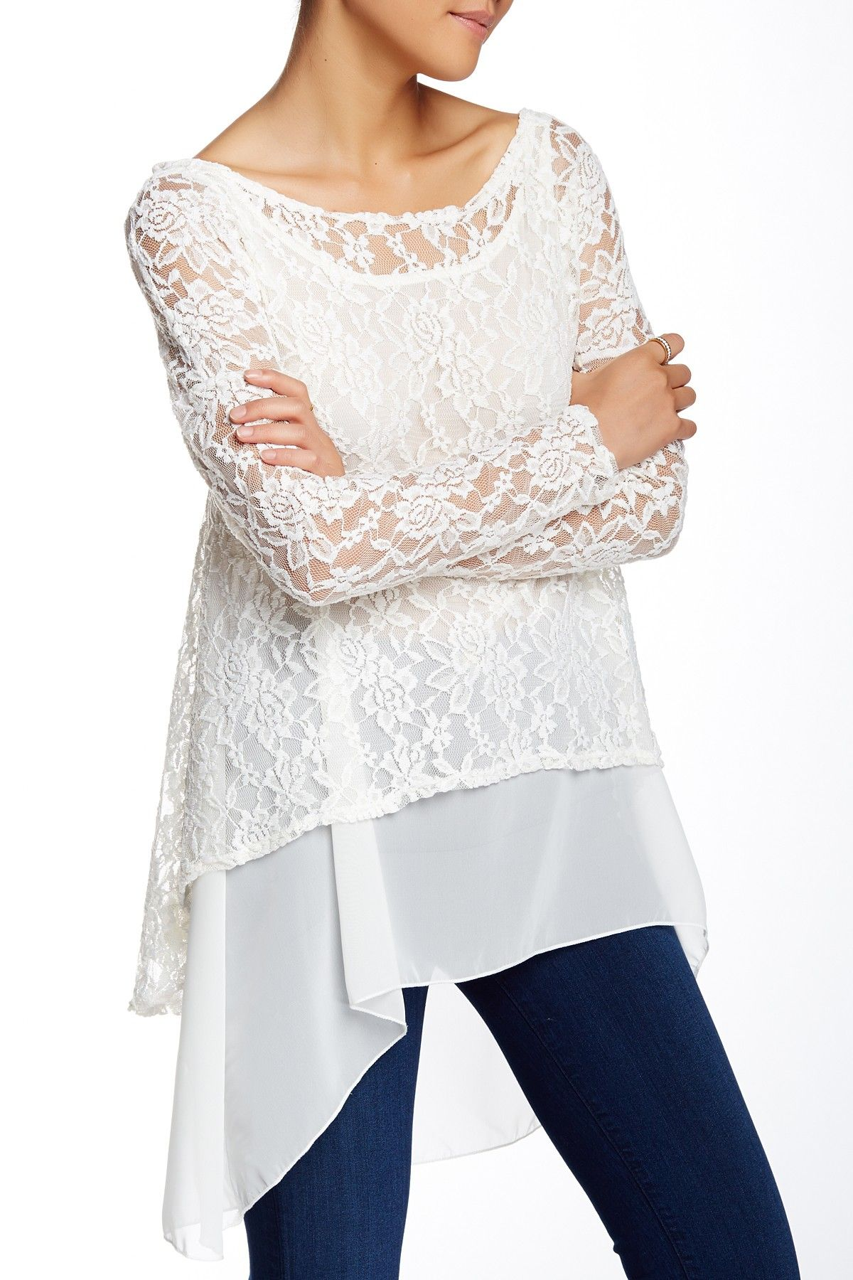 Layered Lace Chiffon Blouse by TOV on @nordstrom_rack