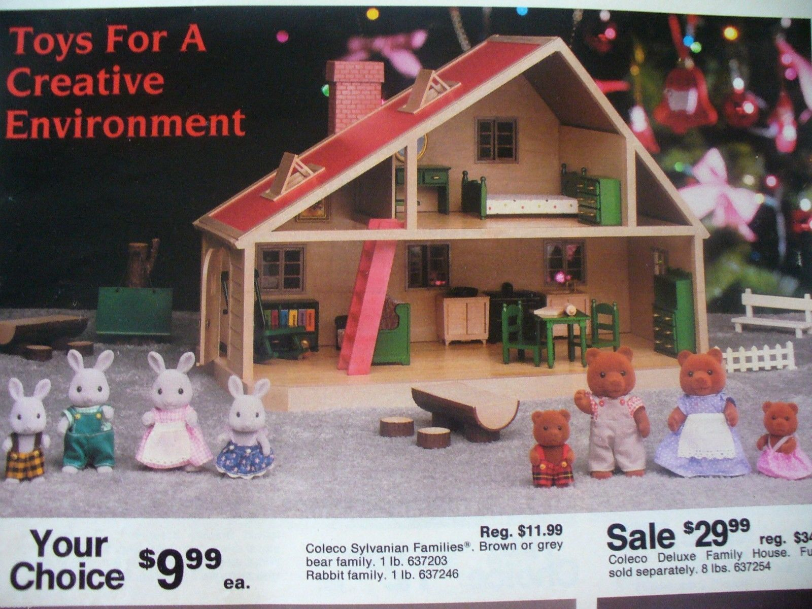 Coleco sylvanian families deluxe house playset and figures