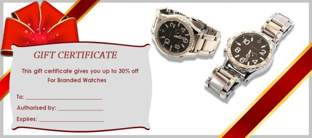 Gift Certificate Watches This Certificate Entitles The Bearer