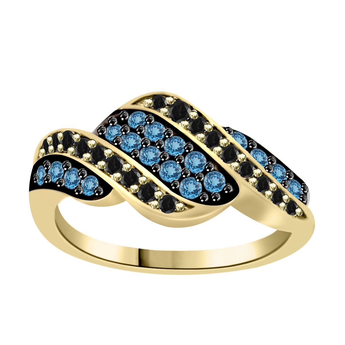 Black and blue diamond wave ring in yellow gold