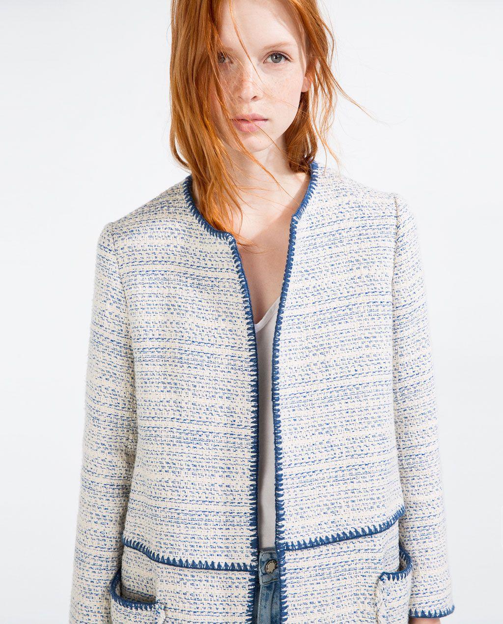 Image 4 of FRAYED COTTON COAT from Zara