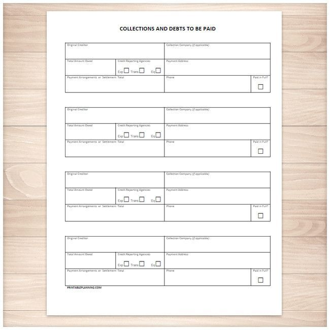Collections and Debts to be Paid - Tracking Sheet - Printable Debt