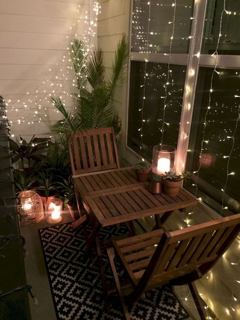 40 Fantastic Apartment Balcony Design Ideas with Perfect Lighting #apartmentdecor