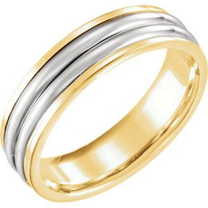 18kt Yellow & Platinum 6mm Comfort-Fit Band Size 7