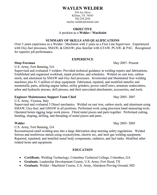 Welder Sample Resume  HttpExampleresumecvOrgWelderSample