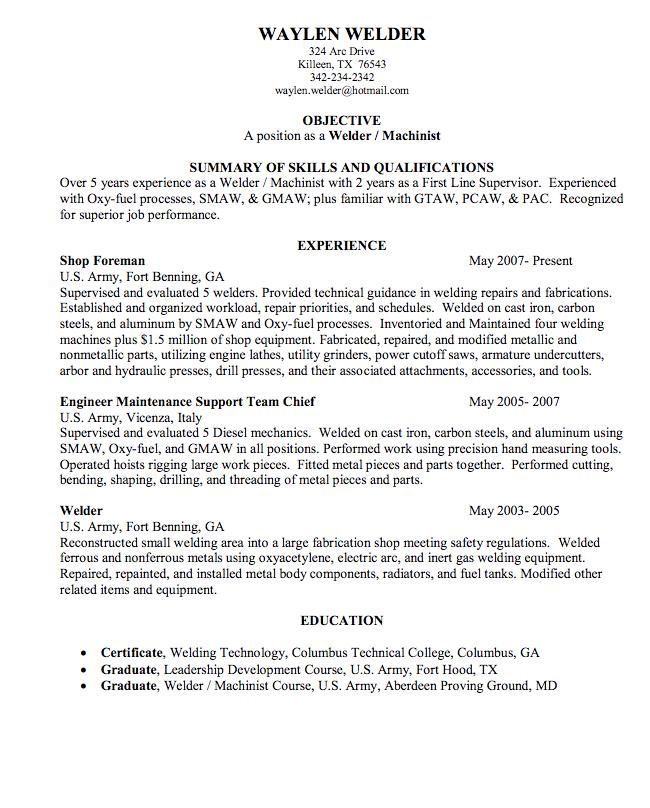 Welder Sample Resume Examples Resume Cv Job Resume Examples Resume Examples Sample Resume