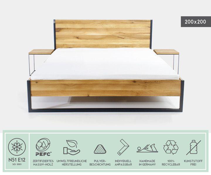 Betten   LOFT INDUSTRIAL BETT 200x200 EICHE + STAHL   Ein Designerstück Von  N51E12 Bei DaWanda