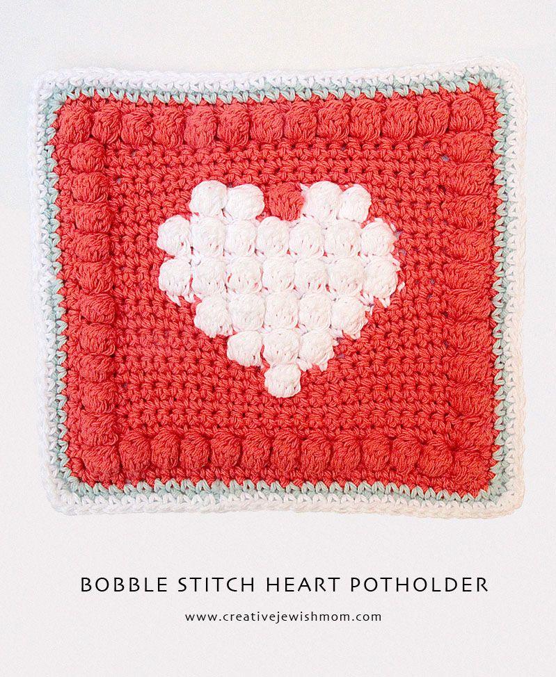 Crocheted Bobble Stitch Heart Potholder