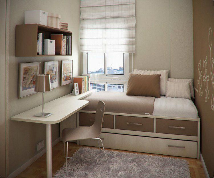 Compact Living Small Room Single Bed With Storage Desk Table