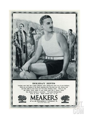 09569f5234 Men's Old Fashioned Bathing Suits Men still wore full body one piece  swimsuits in the 1920s and 30s Advert for Meakers Men's Swimwear 1927 Two-piece  men's ...