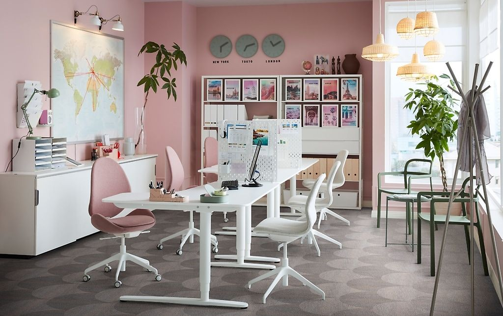 Ikea Bureaustoel Moses.An Office Space With Pink Walls And Sit Stand Bekant Desk In White