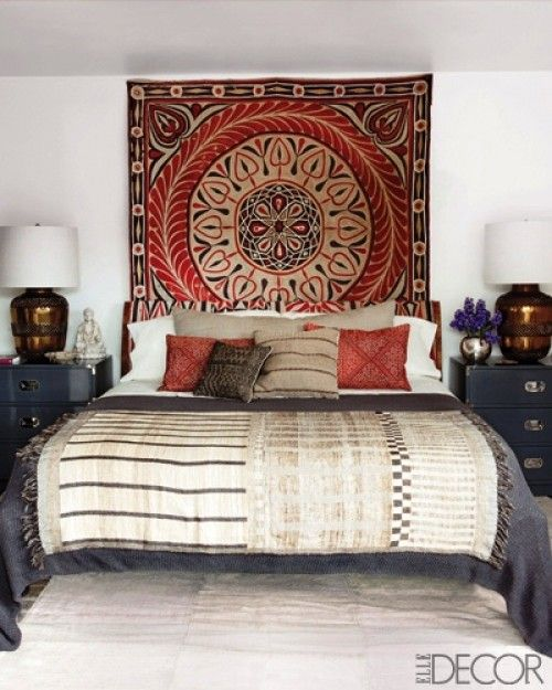Exotic dreams...    Ellen Pompeo: real homey-eclectic mix of Moroccan, Spanish and southern Italian- type furniture and fabrics.