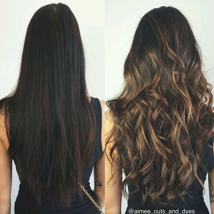 Reflejos color miel en cabello negro