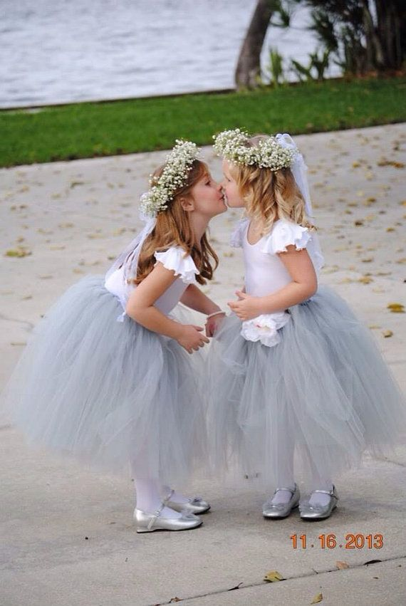 Grey Sweet Flower Girl Tutu Size 2 4 Custom Color Tutu