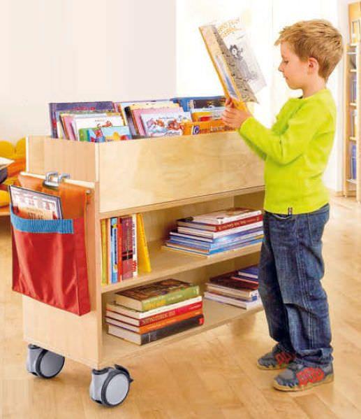 biblioteca m vil moderna de madera con ruedas move