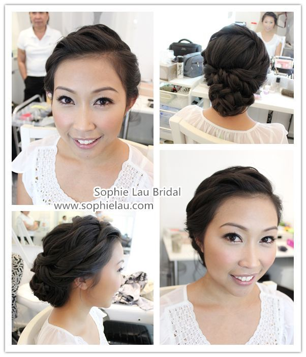 Love This Natural Look With Such A Neat Updo Asian Bridal Hair Bridal Hair And Makeup Wedding Hair And Makeup