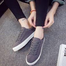 Pudding White Canvas Shoes Student Shoes Grey Sepatu Kets Wanita