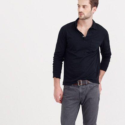 24182c27a290 J.Crew - Broken-in long-sleeve pocket polo shirt | Our Town-Modern ...