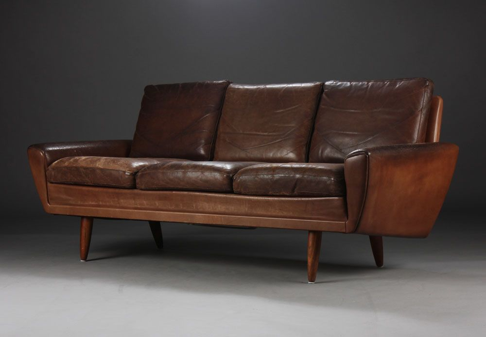 Three-seater, brown leather, Danish furniture producer from ...