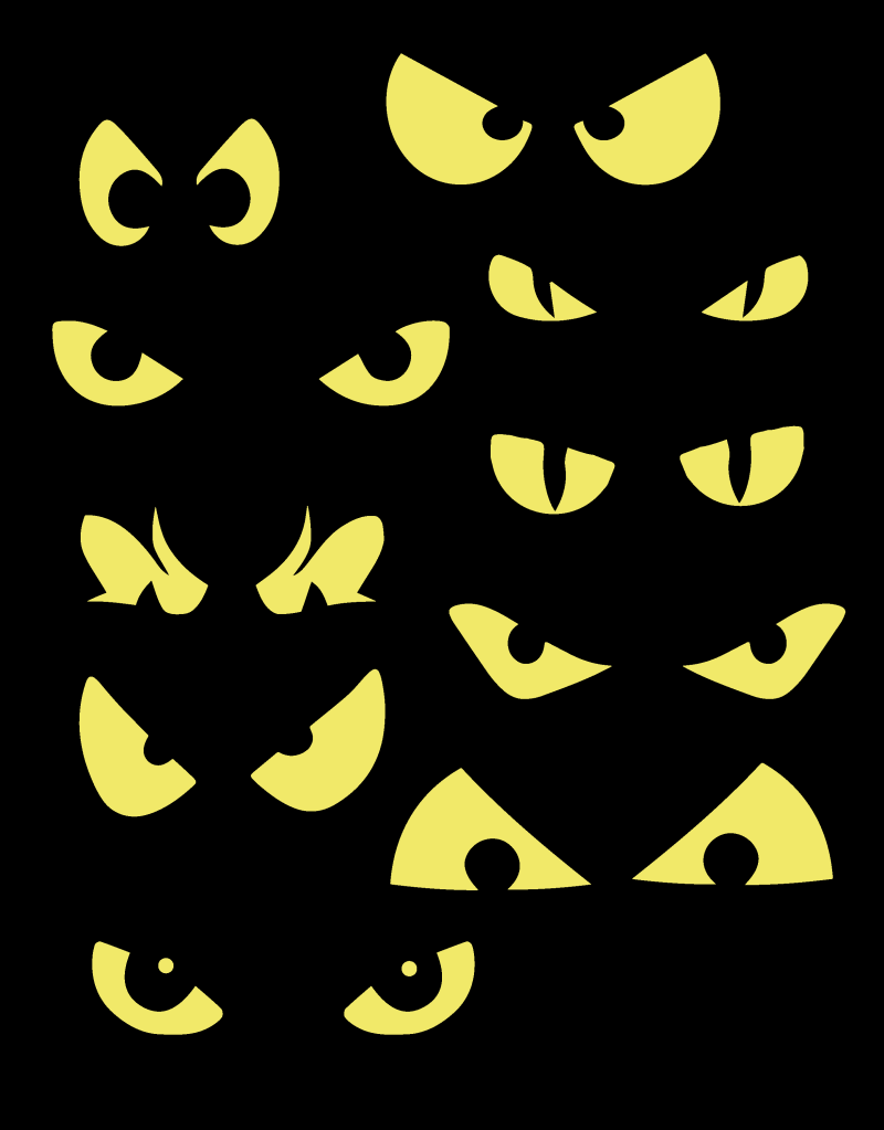 Eyes On A Black Or White Sheet With Bats As A Background Behind Table
