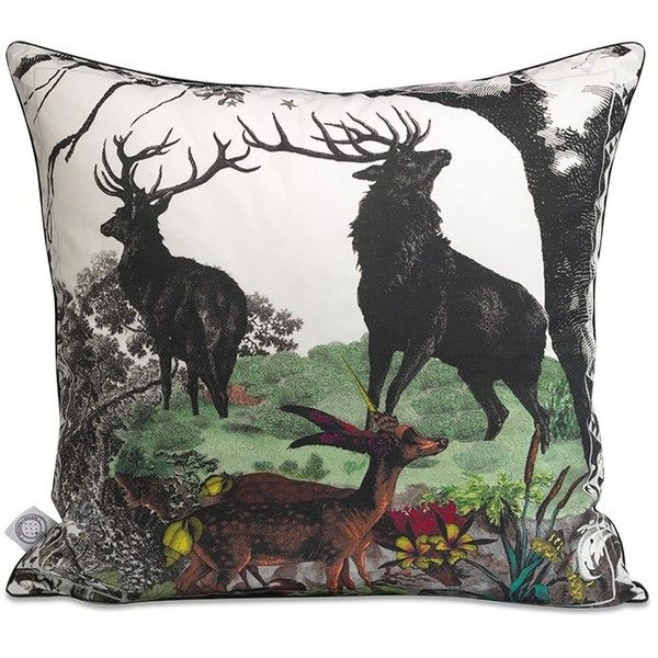Kristjana S Williams Twin Stags cotton cushion (1.695 NOK) ❤ liked on Polyvore featuring home, home decor, throw pillows, multi colored throw pillows, colorful home decor, multi color throw pillows, colorful throw pillows and cotton throw pillows